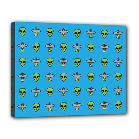 Alien Pattern Canvas 14  X 11  by BangZart