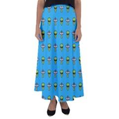 Alien Pattern Flared Maxi Skirt