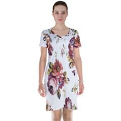 Texture Pattern Fabric Design Short Sleeve Nightdress