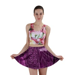 Purple Background Patchwork Flowers Mini Skirt