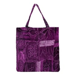 Purple Background Patchwork Flowers Grocery Tote Bag by BangZart