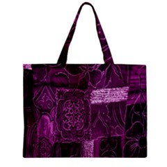 Purple Background Patchwork Flowers Mini Tote Bag by BangZart