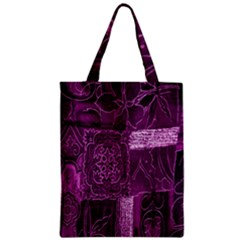 Purple Background Patchwork Flowers Zipper Classic Tote Bag by BangZart