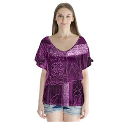 Purple Background Patchwork Flowers Flutter Sleeve Top