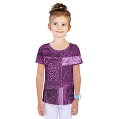 Purple Background Patchwork Flowers Kids  One Piece Tee