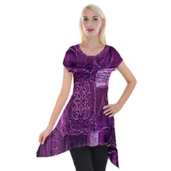 Purple Background Patchwork Flowers Short Sleeve Side Drop Tunic