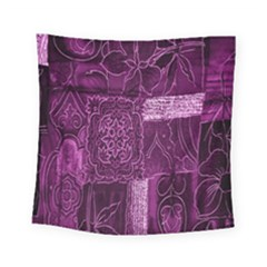 Purple Background Patchwork Flowers Square Tapestry (small) by BangZart