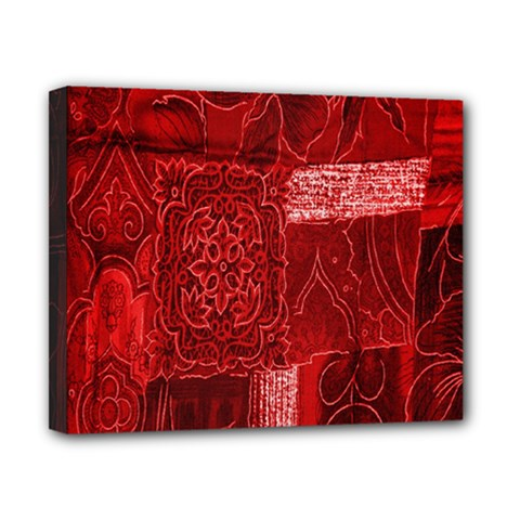 Red Background Patchwork Flowers Canvas 10  X 8