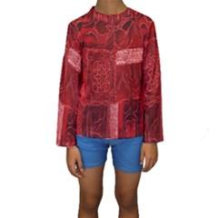 Red Background Patchwork Flowers Kids  Long Sleeve Swimwear