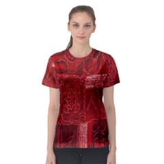 Red Background Patchwork Flowers Women s Sport Mesh Tee by BangZart