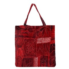 Red Background Patchwork Flowers Grocery Tote Bag by BangZart