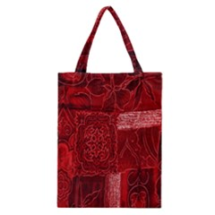 Red Background Patchwork Flowers Classic Tote Bag by BangZart