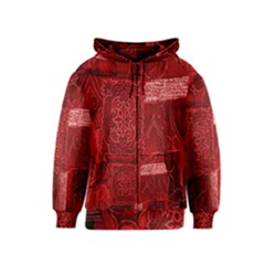 Red Background Patchwork Flowers Kids  Zipper Hoodie by BangZart