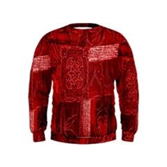 Red Background Patchwork Flowers Kids  Sweatshirt