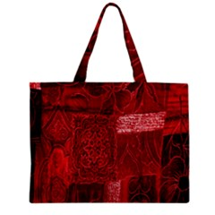 Red Background Patchwork Flowers Zipper Mini Tote Bag by BangZart