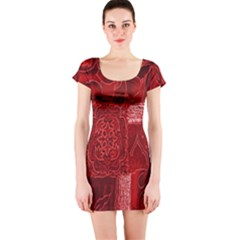 Red Background Patchwork Flowers Short Sleeve Bodycon Dress