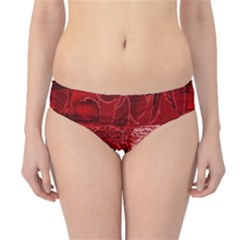 Red Background Patchwork Flowers Hipster Bikini Bottoms
