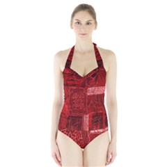 Red Background Patchwork Flowers Halter Swimsuit