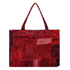 Red Background Patchwork Flowers Medium Tote Bag by BangZart
