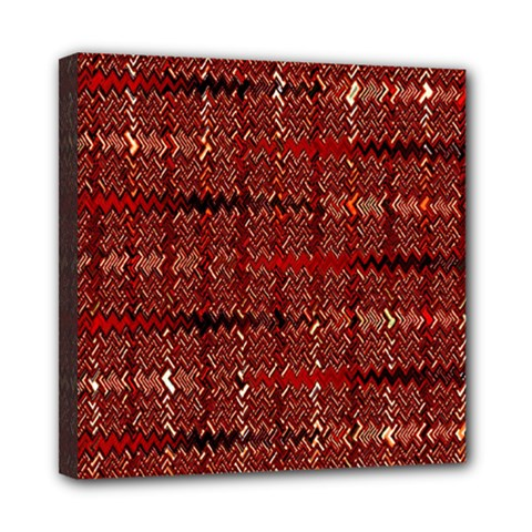 Rust Red Zig Zag Pattern Mini Canvas 8  X 8  by BangZart
