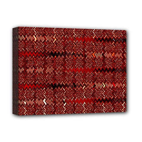 Rust Red Zig Zag Pattern Deluxe Canvas 16  X 12   by BangZart