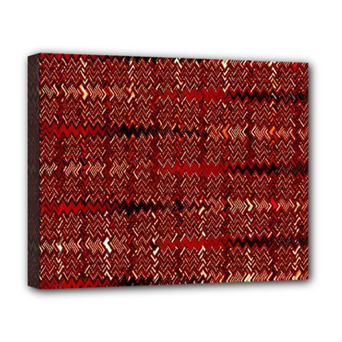 Rust Red Zig Zag Pattern Deluxe Canvas 20  X 16   by BangZart
