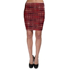 Rust Red Zig Zag Pattern Bodycon Skirt