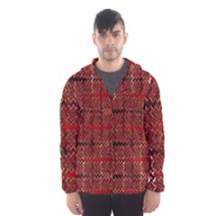 Rust Red Zig Zag Pattern Hooded Wind Breaker (men)
