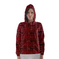 Rust Red Zig Zag Pattern Hooded Wind Breaker (women)