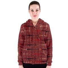 Rust Red Zig Zag Pattern Women s Zipper Hoodie