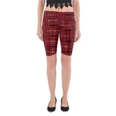 Rust Red Zig Zag Pattern Yoga Cropped Leggings