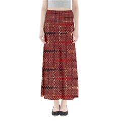 Rust Red Zig Zag Pattern Full Length Maxi Skirt