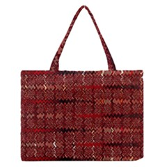 Rust Red Zig Zag Pattern Medium Zipper Tote Bag by BangZart