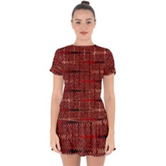 Rust Red Zig Zag Pattern Drop Hem Mini Chiffon Dress