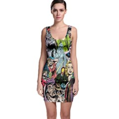 Vintage Horror Collage Pattern Sleeveless Bodycon Dress