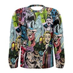 Vintage Horror Collage Pattern Men s Long Sleeve Tee