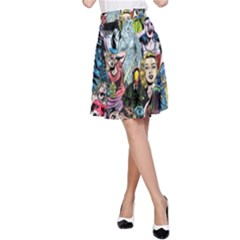 Vintage Horror Collage Pattern A Line Skirt