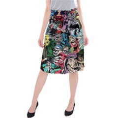 Vintage Horror Collage Pattern Midi Beach Skirt