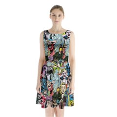 Vintage Horror Collage Pattern Sleeveless Waist Tie Chiffon Dress