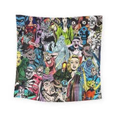 Vintage Horror Collage Pattern Square Tapestry (small) by BangZart