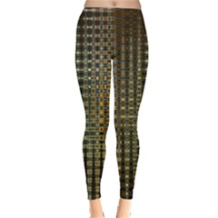 Background Colors Of Green And Gold In A Wave Form Leggings  by BangZart
