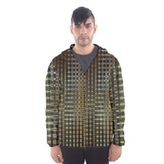 Background Colors Of Green And Gold In A Wave Form Hooded Wind Breaker (men)