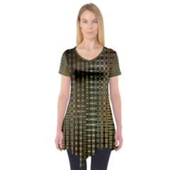 Background Colors Of Green And Gold In A Wave Form Short Sleeve Tunic