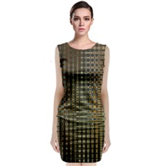 Background Colors Of Green And Gold In A Wave Form Classic Sleeveless Midi Dress