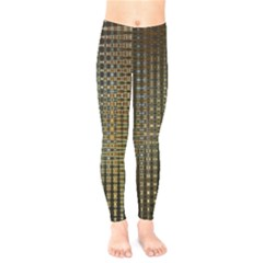 Background Colors Of Green And Gold In A Wave Form Kids  Legging by BangZart