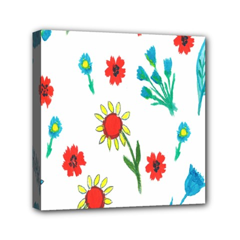 Flowers Fabric Design Mini Canvas 6  X 6  by BangZart