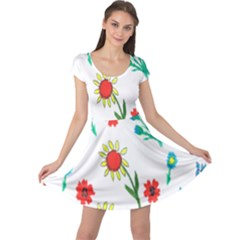 Flowers Fabric Design Cap Sleeve Dresses