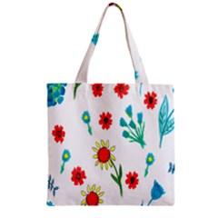 Flowers Fabric Design Zipper Grocery Tote Bag