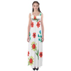 Flowers Fabric Design Empire Waist Maxi Dress
