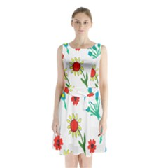 Flowers Fabric Design Sleeveless Waist Tie Chiffon Dress